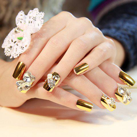 2018 24 Pcs Chic Lace Rhinestone Decorated Solid Color Nail Art