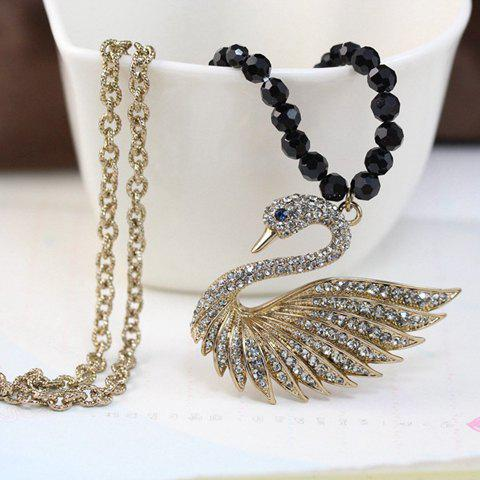 Outfit Chic Women's Rhinestone Swan Sweater Chain Necklace
