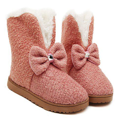 Store Sweet Solid Color and Bow Design Women's Flat Snow Boots