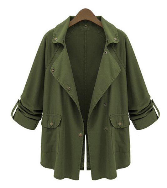 Online Stylish Turn-Down Collar Loose-Fitting Long Sleeve Solid Color Trench Coat For Women
