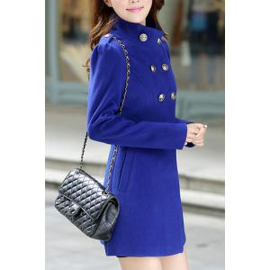Stylish Stand-Up Neck Long Sleeve Solid Color Button Design Women's Coat -
