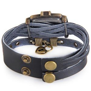 Yulan Female Vintage Style Quartz Watch Rectangle Dial Leather Wristband - DEEP BLUE