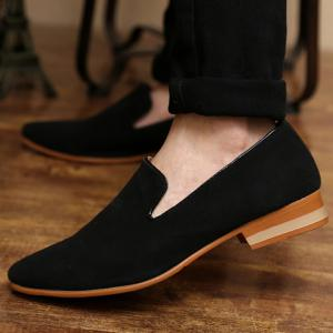 Laconic Suede and Pointed Toe Design Men's Loafers - BLACK 43