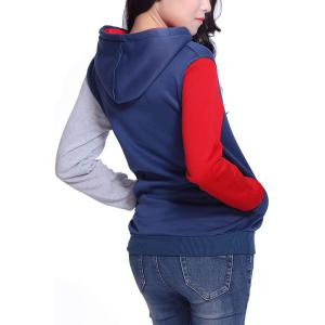 Casual Pockets Design Long Sleeve Hooded Women's Sweatshirt - RED 2XL