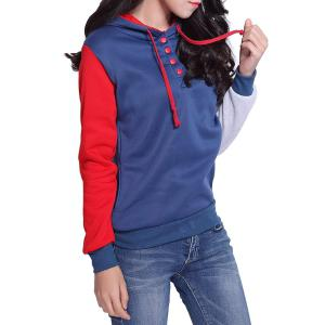 Casual Pockets Design Long Sleeve Hooded Women's Sweatshirt - RED L