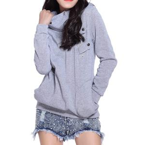 Long Sleeve Pockets Inclined Zipper Pullover Hoodie