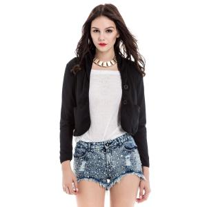 Shawl Collar Long Sleeve Short Blazer - Black - 2xl