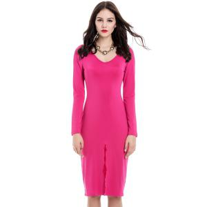 Sexy Front Split Design Long Sleeve Plunging Neck Women's Slim Fit Club Dress