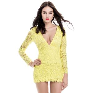 Mini Lace Low Cut Long Sleeve Bodycon Dress