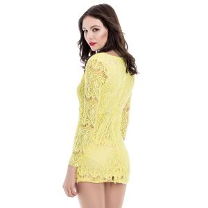 Charming Plunging Neck Packet Buttock Long Sleeve Women's Lace Dress - YELLOW S