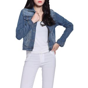 Long Sleeve Single-Breasted Panel Short Denim Jacket - Blue - L