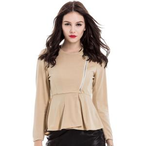 Slim Fit Zip Up Peplum Jacket
