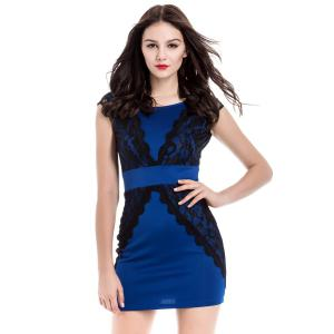 Contrast Lace Bodycon Mini Homecoming Dress - Blue - Xl