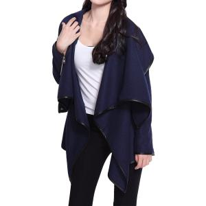 Stylish Long Sleeves Solid Color Asymmetric Wool Coat For Women - CADETBLUE XL