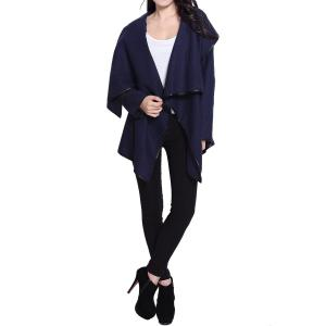 Stylish Long Sleeves Solid Color Asymmetric Wool Coat For Women - CADETBLUE S