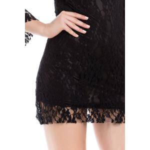 Sexy Boat Neck Flared Sleeve Lace Dress For Women - BLACK ONE SIZE