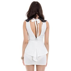 Mini Bodycon Womens Peplum Dress - WHITE L