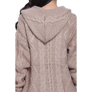 Cable Knit Hooded Cardigan - KHAKI ONE SIZE