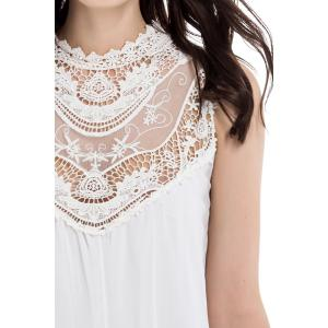 Lace Splicing Sleeveless Stand-Up Collar Hollow Out Design Women's Dress -