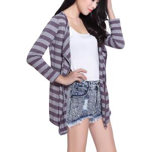 Fashionable Stripe Color Block Long Sleeve Coat For Women -