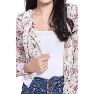 Stunning Scoop Neck Long Sleeves Floral Print Shrug Style Chiffon Women's Jacket -