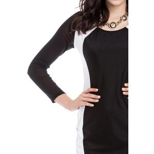 Sexy U Neck Color Matching Long Sleeves Women's Bodycon Dress - BLACK ONE SIZE