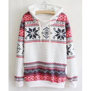 Ethnic Style Hooded Long Sleeve Flocky Printed Women's Hoodie