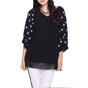 V-Neck 3/4 Sleeve Polka Dot Loose-Fitting Chiffon Tunic Blouse
