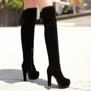 Lace Trimmed Over The Knee High Heel Boots - BLACK 37