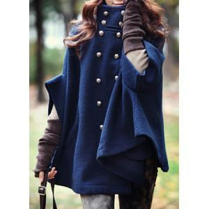 Fashionable Stand Collar Double-Breasted Cape Coat For Women - Blue - L
