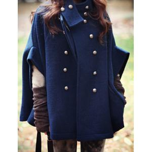 Fashionable Stand Collar Double-Breasted Cape Coat For Women -