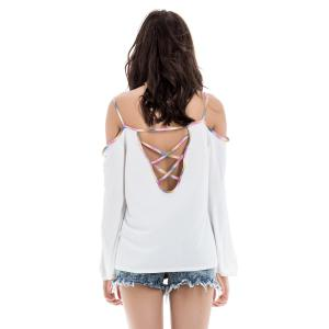 Stylish Spaghetti Strap Long Sleeve Backless Women's Blouse - WHITE L