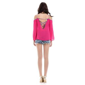 Stylish Spaghetti Strap Long Sleeve Backless Women's Blouse - RED M