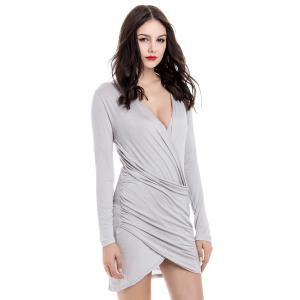 Asymmetrical Hem Long Sleeve Plunging Neck Packet Buttock Women's Dress -