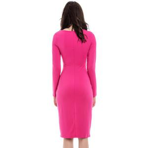 Sexy Front Split Design Long Sleeve Plunging Neck Women's Slim Fit Club Dress - ROSE MADDER S