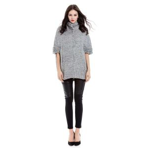 Vintage Stand-Up Collar Batwing Sleeves Solid Color Jacket For Women -