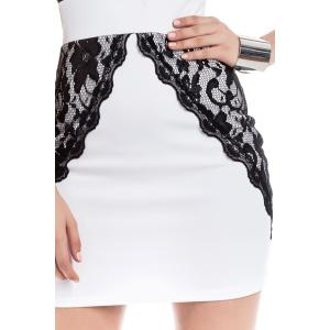 Contrast Lace Bodycon Mini Homecoming Dress - WHITE XL