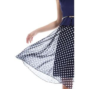 Polka Dot Sleeveless Chiffon Flowy Dress - CADETBLUE S