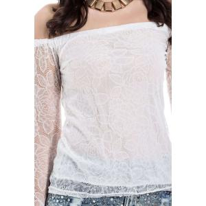Lace Hollow Yarn Women's Blouse chiffon White Boat Neck T-shirt - WHITE M