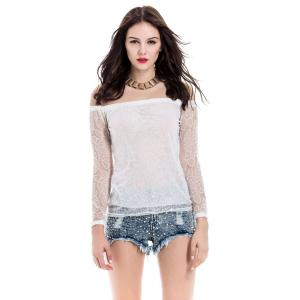 Lace Hollow Yarn Women's Blouse chiffon White Boat Neck T-shirt