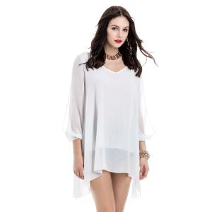 Loose-Fitting Chiffon Beach Dress - WHITE S