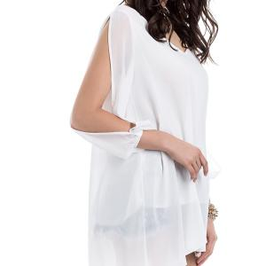 Long Sleeve Chiffon Beach Shift Dress - WHITE S