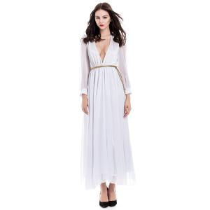 Long Sleeve Deep Plunging V Neck Slit Maxi Dress