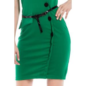 Button Up Sheath Dress with Short Sleeve -