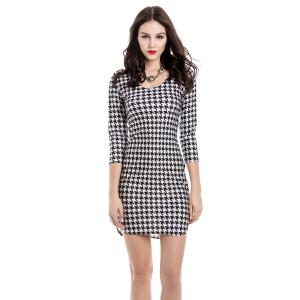 Sexy Off-The-Shoulder Houndstooth 3/4 Sleeve Dress For Women
