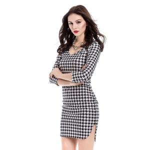 Sexy Off-The-Shoulder Houndstooth 3/4 Sleeve Dress For Women - WHITE/BLACK M
