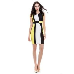 Trendy Sleeveless Scoop Neck Color Block Pullover Women's Dress - YELLOW M