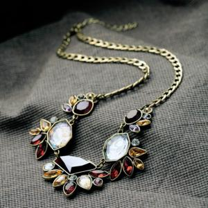 Chic Secondary Color Gemstone Embellished Women's Necklace -