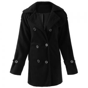 Stylish Turn-Down Neck Long Sleeve Double-Breasted Pocket Design Women's Coat - Black - Xl