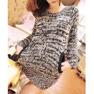 Stylish Scoop Neck Long Sleeves Pocket Long Sweater and Neckerchief For Women